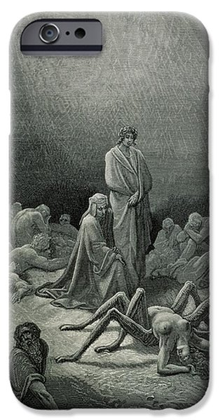 Punishment iPhone Cases - Virgil 70-19 Bc And Dante Looking At The Spider Woman, Illustration From The Divine Comedy Inferno iPhone Case by Gustave Dore