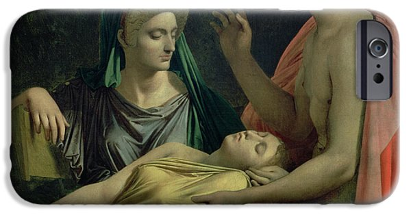 Classical iPhone Cases - Virgil 70-19 Bc Reading The Aeneid To Livia, Octavia And Augustus, 1819 Oil On Canvas iPhone Case by Jean Auguste Dominique Ingres