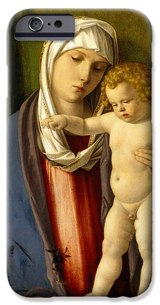 Young Paintings iPhone Cases - Virgin and Child iPhone Case by Giovanni Bellini