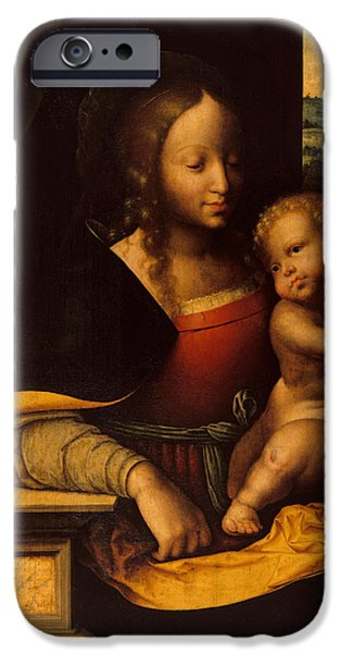 Young Paintings iPhone Cases - Virgin and Child iPhone Case by Joos van Cleve
