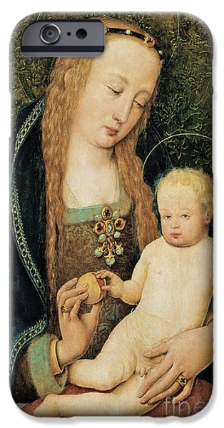 Young Paintings iPhone Cases - Virgin and Child with Pomegranate iPhone Case by Hans Holbein the Younger