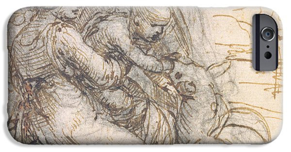 Preparatory Study iPhone Cases - Virgin and Child with St. Anne iPhone Case by Leonardo da Vinci