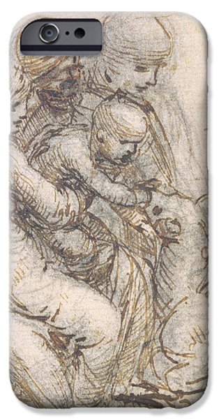 Virgin and Child with St. Anne iPhone Case by Leonardo da Vinci