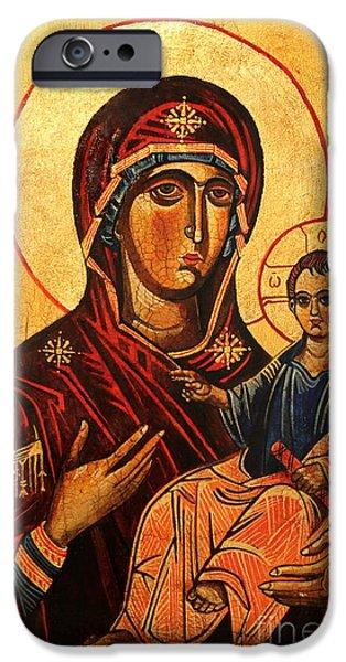 Symbol Of The Soul iPhone Cases - Virgin Hodegetria iPhone Case by Ryszard Sleczka