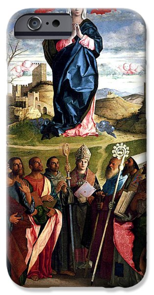 Evangelist iPhone Cases - Virgin In Glory With Saints 1515 Giovanni Bellini iPhone Case by Karon Melillo DeVega