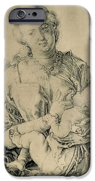 Breasts iPhone Cases - Virgin Mary Suckling The Christ Child, 1512 Charcoal Drawing iPhone Case by Albrecht Dürer or Duerer