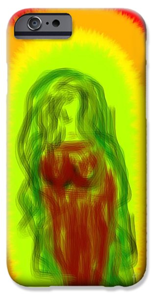 Etc. Digital Art iPhone Cases - Virgin of Seduction iPhone Case by James Eye