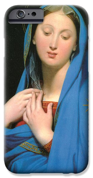 Madonna Digital Art iPhone Cases - Virgin Of The Adoption iPhone Case by Jean Auguste Dominique Ingress