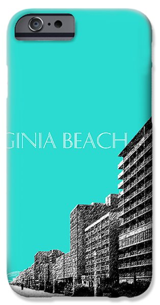 Pen And Ink Digital Art iPhone Cases - Virginia Beach Skyline Boardwalk  - Aqua iPhone Case by DB Artist