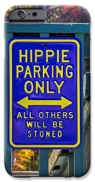 Sign iPhone Cases - Virginia Country Roads - Hippie Parking Only - Near Sperryville Rappahannock County VA iPhone Case by Michael Mazaika