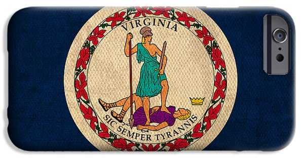 Arlington iPhone Cases - Virginia State Flag Art on Worn Canvas iPhone Case by Design Turnpike