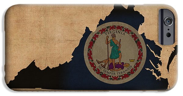 Chesapeake iPhone Cases - Virginia State Flag Map Outline With Founding Date On Worn Parchment Background iPhone Case by Design Turnpike