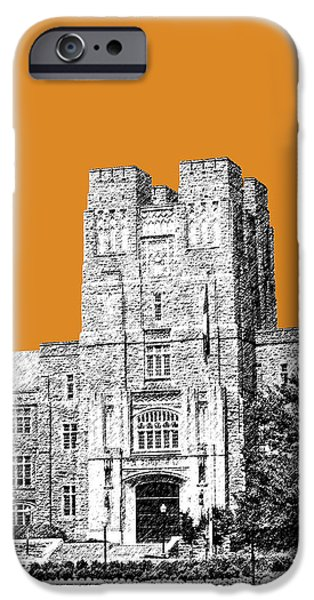 Pen And Ink Digital Art iPhone Cases - Virginia Tech - Dark Orange iPhone Case by DB Artist