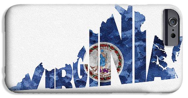 Virginia iPhone Cases - Virginia Typographic Map Flag iPhone Case by Ayse Deniz