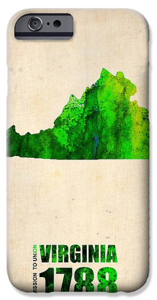 Decoration iPhone Cases - Virginia Watercolor Map iPhone Case by Naxart Studio