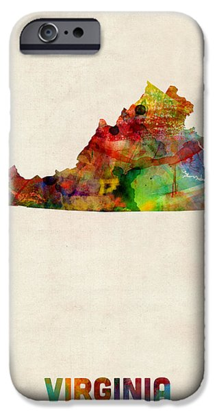 Geography iPhone Cases - Virginia Watercolor Map iPhone Case by Michael Tompsett