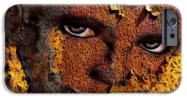 Virtual Mixed Media iPhone Cases - Virtual face in grafitti iPhone Case by Yvon van der Wijk