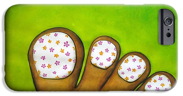Virtual Paintings iPhone Cases - Virtual Pedicure iPhone Case by Oiyee  At Oystudio