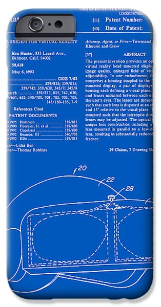 Virtual iPhone Cases - Virtual Reality Helmet Patent - Blueprint iPhone Case by Finlay McNevin