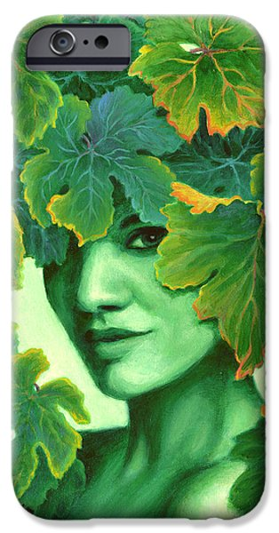 Innocence Paintings iPhone Cases - Virtue in the Vines iPhone Case by Sandi Whetzel