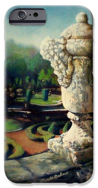 Garden Scene Paintings iPhone Cases - Viscaya Garden iPhone Case by Pamela Roehm