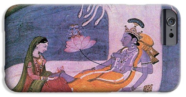 Hindu Goddess iPhone Cases - Vishnu And Lakshmi Float Across Cosmos iPhone Case by Photo Researchers