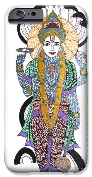 Incarnation iPhone Cases - Vishnu II iPhone Case by Kruti Shah
