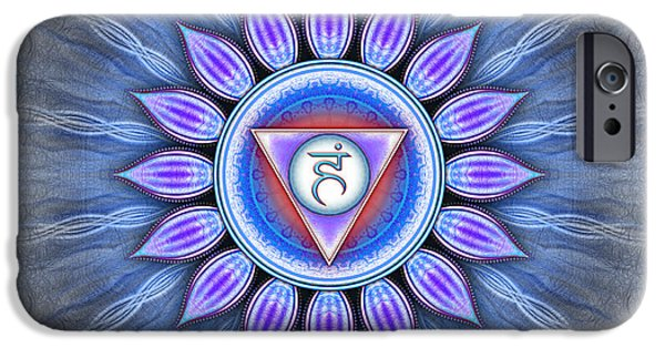 Healing Posters iPhone Cases - Vishuddha Chakra Series IV iPhone Case by Dirk Czarnota