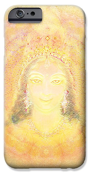 Hindu Goddess Mixed Media iPhone Cases - Vision of a Goddess - a Being of Light iPhone Case by Ananda Vdovic