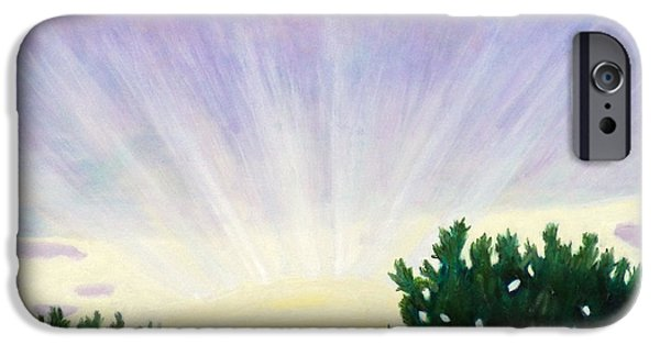Sun Rays Paintings iPhone Cases - Visionary Sky iPhone Case by Brian  Commerford