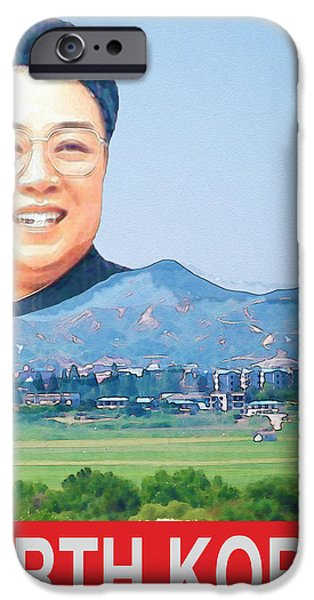 Kim Digital Art iPhone Cases - Visit North Korea Travel Poster iPhone Case by Finlay McNevin