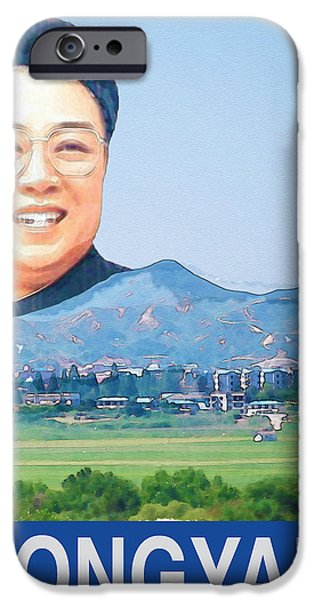 Kim Digital Art iPhone Cases - Visit Pyongyang Travel Poster iPhone Case by Finlay McNevin