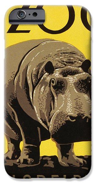 Hippopotamus Digital Art iPhone Cases - Visit the Philadelphia Zoo iPhone Case by Bill Cannon