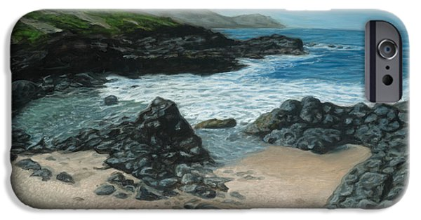 Michael Paintings iPhone Cases - Visitor at Kaena Point iPhone Case by Michael Allen Wolfe