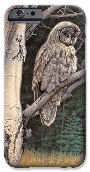 Forest iPhone Cases - Visitor from the north-Great Grey Owl iPhone Case by Paul Krapf