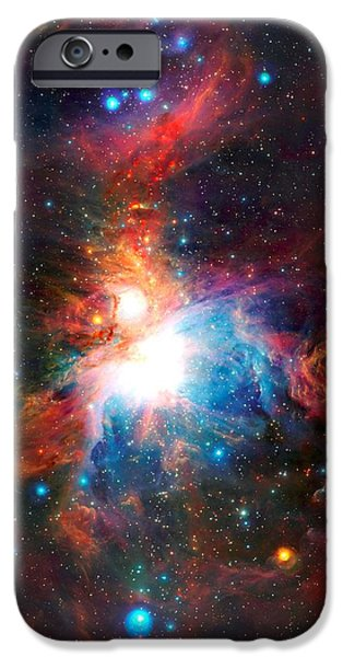 Small iPhone Cases - VISTA Telescopes Infrared View Orion Nebula Enhanced IV iPhone Case by L Brown