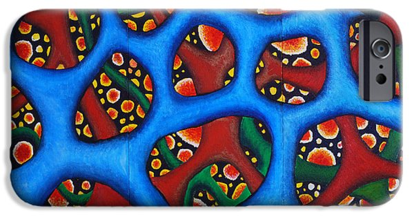 Physiology Paintings iPhone Cases - Vital Network Triptych II iPhone Case by Nancy Mueller
