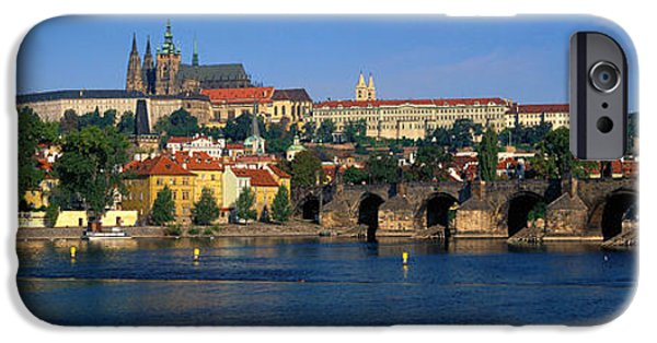 Charles River iPhone Cases - Vitava River Charles Bridge Prague iPhone Case by Panoramic Images