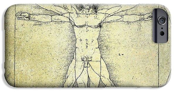 Music Drawings iPhone Cases - Vitruvian Guitar Man iPhone Case by Jon Neidert