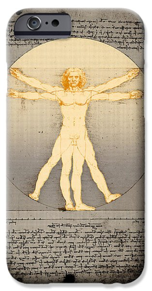 Proportions iPhone Cases - Vitruvian man 14 enlightenment iPhone Case by Filippo B