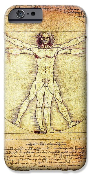 Proportions iPhone Cases - Vitruvian Man  1490 iPhone Case by Daniel Hagerman