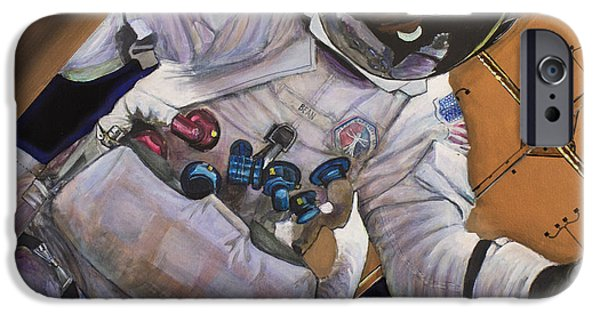 Nasa iPhone Cases - Vitruvian Man- Alan Bean.  iPhone Case by Simon Kregar