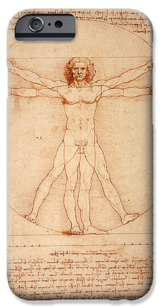 Bill Cannon iPhone Cases - Vitruvian Man iPhone Case by Bill Cannon
