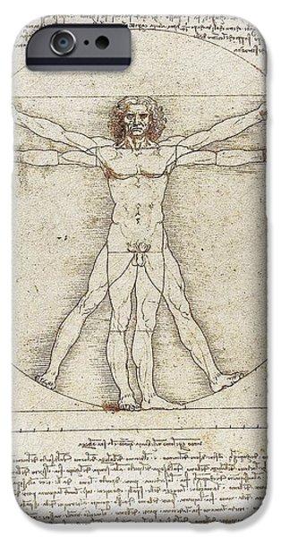 Proportions iPhone Cases - Vitruvian Man by Leonardo da Vinci iPhone Case by Serge Averbukh