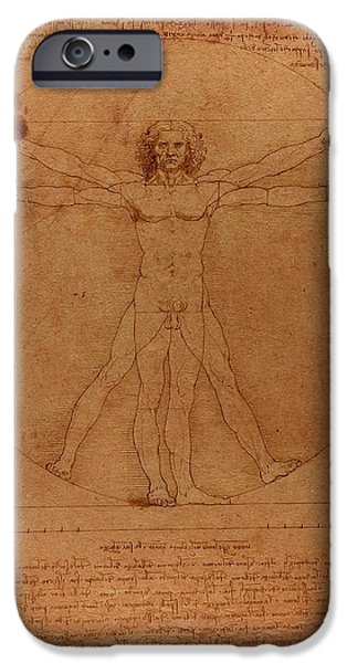 Parchment iPhone Cases - Vitruvian Man by Leonardo Da Vinci Sketch on Worn Parchment iPhone Case by Design Turnpike