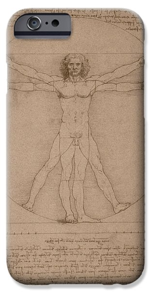 Vitruvius iPhone Cases - Vitruvian Man  iPhone Case by War Is Hell Store