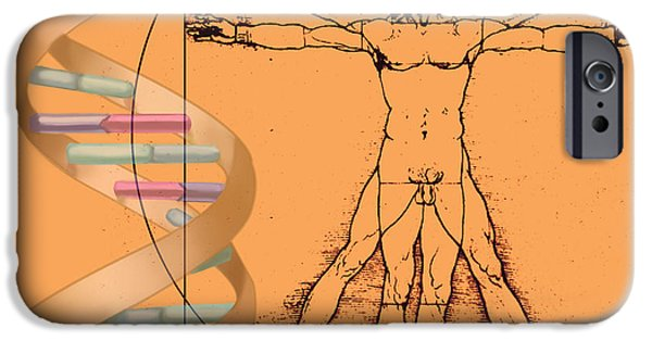 Biochemical iPhone Cases - Vitruvian Man With Dna iPhone Case by Spencer Sutton