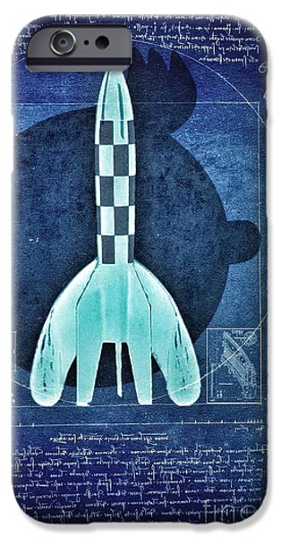 Bandes Dessinees iPhone Cases - Vitruvian Tintin in space iPhone Case by Helge