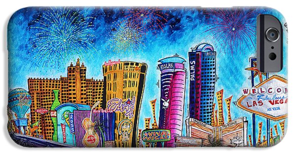 Stratosphere iPhone Cases - Viva Las Vegas a Fun and Funky PoP Art Painting of the Vegas Skyline and Sign by Megan Duncanson iPhone Case by Megan Duncanson