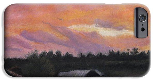 Barn Landscape Pastels iPhone Cases - Vivid Sunset on Farm iPhone Case by Laura Sullivan